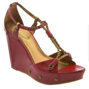 Vince Camuto red leather Urali platform sandals